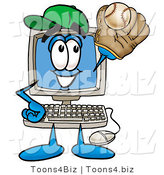 Illustration of a Cartoon Computer Mascot Catching a Baseball with a Glove by Toons4Biz