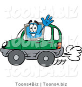 Illustration of a Cartoon Computer Mascot Driving a Green Car and Waving by Toons4Biz