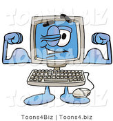 Illustration of a Cartoon Computer Mascot Flexing His Arm Muscles by Toons4Biz
