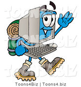Illustration of a Cartoon Computer Mascot Hiking and Carrying a Backpack by Toons4Biz