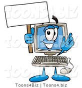 Illustration of a Cartoon Computer Mascot Holding a Blank Sign by Toons4Biz