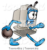 Illustration of a Cartoon Computer Mascot Holding a Bowling Ball by Toons4Biz