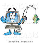 Illustration of a Cartoon Computer Mascot Holding a Fish on a Fishing Pole by Toons4Biz