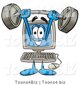 Illustration of a Cartoon Computer Mascot Holding a Heavy Barbell Above His Head by Toons4Biz