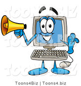 Illustration of a Cartoon Computer Mascot Holding a Megaphone by Toons4Biz