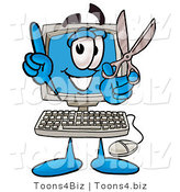 Illustration of a Cartoon Computer Mascot Holding a Pair of Scissors by Toons4Biz