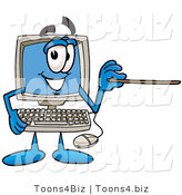 Illustration of a Cartoon Computer Mascot Holding a Pointer Stick by Toons4Biz