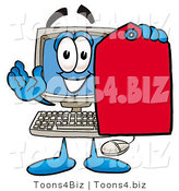Illustration of a Cartoon Computer Mascot Holding a Red Sales Price Tag by Toons4Biz