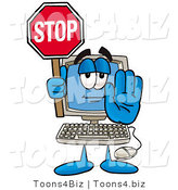 Illustration of a Cartoon Computer Mascot Holding a Stop Sign by Toons4Biz