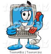 Illustration of a Cartoon Computer Mascot Holding a Telephone by Toons4Biz