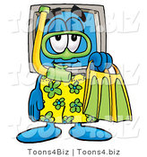 Illustration of a Cartoon Computer Mascot in Green and Yellow Snorkel Gear by Toons4Biz