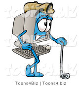 Illustration of a Cartoon Computer Mascot Leaning on a Golf Club While Golfing by Toons4Biz