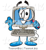 Illustration of a Cartoon Computer Mascot Looking Through a Magnifying Glass by Toons4Biz