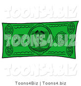 Illustration of a Cartoon Computer Mascot on a Dollar Bill by Toons4Biz