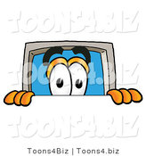 Illustration of a Cartoon Computer Mascot Peeking over a Surface by Toons4Biz