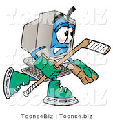 Illustration of a Cartoon Computer Mascot Playing Ice Hockey by Toons4Biz