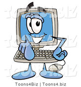 Illustration of a Cartoon Computer Mascot Pointing at the Viewer by Toons4Biz
