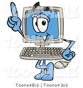 Illustration of a Cartoon Computer Mascot Pointing Upwards by Toons4Biz