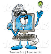 Illustration of a Cartoon Computer Mascot Preparing to Hit a Tennis Ball by Toons4Biz