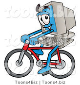 Illustration of a Cartoon Computer Mascot Riding a Bicycle by Toons4Biz