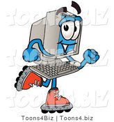 Illustration of a Cartoon Computer Mascot Roller Blading on Inline Skates by Toons4Biz