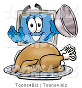 Illustration of a Cartoon Computer Mascot Serving a Thanksgiving Turkey on a Platter by Toons4Biz
