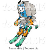Illustration of a Cartoon Computer Mascot Skiing Downhill by Toons4Biz
