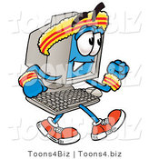 Illustration of a Cartoon Computer Mascot Speed Walking or Jogging by Toons4Biz