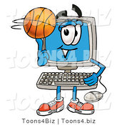 Illustration of a Cartoon Computer Mascot Spinning a Basketball on His Finger by Toons4Biz