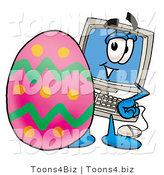 Illustration of a Cartoon Computer Mascot Standing Beside an Easter Egg by Toons4Biz