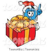 Illustration of a Cartoon Computer Mascot Standing by a Christmas Present by Toons4Biz