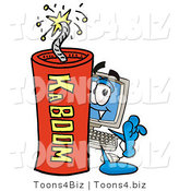 Illustration of a Cartoon Computer Mascot Standing with a Lit Stick of Dynamite by Toons4Biz