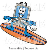 Illustration of a Cartoon Computer Mascot Surfing on a Blue and Orange Surfboard by Toons4Biz