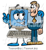 Illustration of a Cartoon Computer Mascot Talking to a Business Man by Toons4Biz