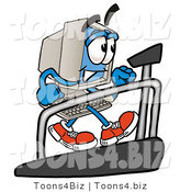 Illustration of a Cartoon Computer Mascot Walking on a Treadmill in a Fitness Gym by Toons4Biz
