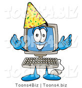 Illustration of a Cartoon Computer Mascot Wearing a Birthday Party Hat by Toons4Biz