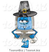 Illustration of a Cartoon Computer Mascot Wearing a Pilgrim Hat on Thanksgiving by Toons4Biz