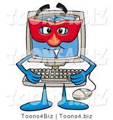 Illustration of a Cartoon Computer Mascot Wearing a Red Mask over His Face by Toons4Biz