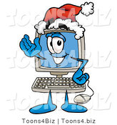 Illustration of a Cartoon Computer Mascot Wearing a Santa Hat and Waving by Toons4Biz