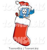 Illustration of a Cartoon Computer Mascot Wearing a Santa Hat Inside a Red Christmas Stocking by Toons4Biz