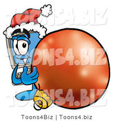 Illustration of a Cartoon Computer Mascot Wearing a Santa Hat, Standing with a Christmas Bauble by Toons4Biz