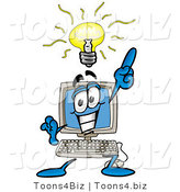 Illustration of a Cartoon Computer Mascot with a Bright Idea by Toons4Biz