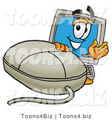 Illustration of a Cartoon Computer Mascot with a Computer Mouse by Toons4Biz