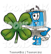 Illustration of a Cartoon Computer Mascot with a Green Four Leaf Clover on St Paddy's or St Patricks Day by Toons4Biz