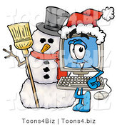 Illustration of a Cartoon Computer Mascot with a Snowman on Christmas by Toons4Biz