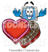 Illustration of a Cartoon Computer Mascot with an Open Box of Valentines Day Chocolate Candies by Toons4Biz