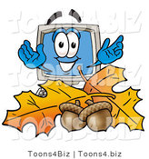 Illustration of a Cartoon Computer Mascot with Autumn Leaves and Acorns in the Fall by Toons4Biz