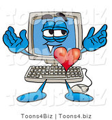 Illustration of a Cartoon Computer Mascot with His Heart Beating out of His Chest by Toons4Biz