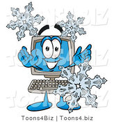 Illustration of a Cartoon Computer Mascot with Three Snowflakes in Winter by Toons4Biz