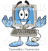 Illustration of a Cartoon Computer Mascot with Welcoming Open Arms by Toons4Biz